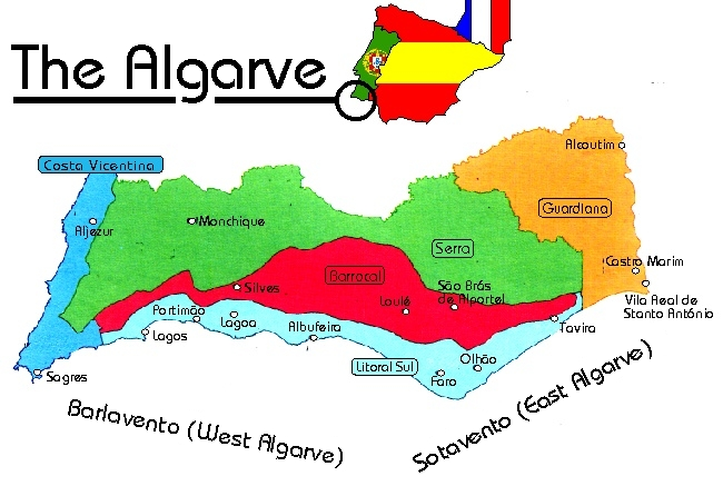 Map  East Algarve Portugal